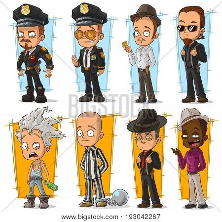 Cartoon cool policeman in uniform and gangsters character vector set