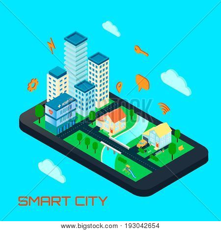 Smart city isometric design concept with private houses and office buildings located on smartphone screen and signs of remote management vector illustration