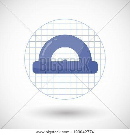 Protractor vector flat icon Flat design of measuring tool mathematics or geometry object on the notebook page with round shadow isolated illustration