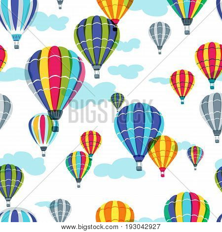 Vector Seamless Pattern With Colorful Hot Air Balloons In The Sky. Hand Drawn Doodle Illustration.