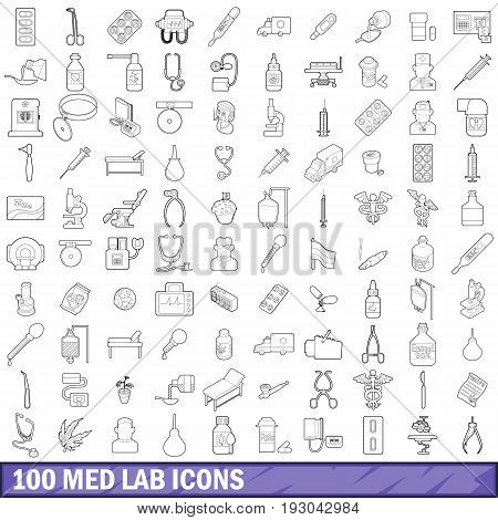 100 med lab icons set in outline style for any design vector illustration