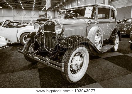 MAASTRICHT NETHERLANDS - JANUARY 15 2016: Vintage car Ford Model A A400 convertible 1931. Sepia. International Exhibition InterClassics & Topmobiel 2016
