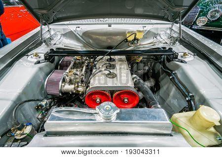 MAASTRICHT NETHERLANDS - JANUARY 15 2016: Engine of small family car Ford Escort RS1600 Mark I. International Exhibition InterClassics & Topmobiel 2016