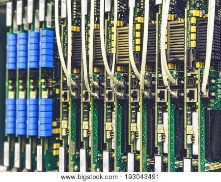 Electrical equipment hardware, printed boards in network server data center, telecommunications equipment, technology background