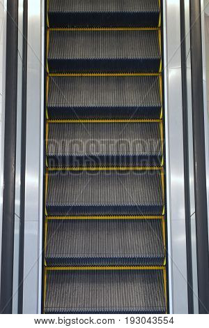 escalator staircase steel metal vertical gray elevator