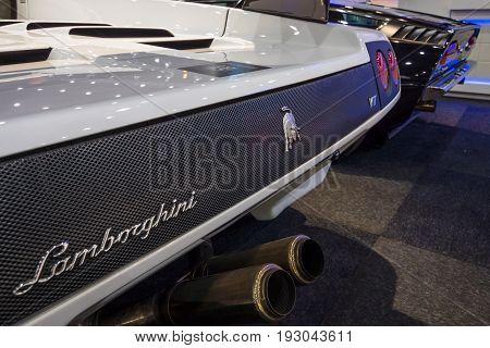 MAASTRICHT NETHERLANDS - JANUARY 15 2016: Fragment of a high-performance mid-engined sports car Lamborghini Diablo VT 6.0 2000. International Exhibition InterClassics & Topmobiel 2016