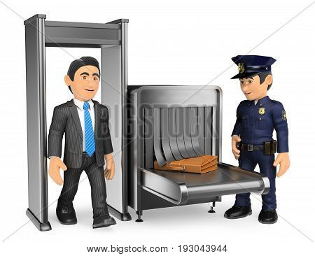 3d security forces people illustration. Businessman at airport police check. Isolated white background.