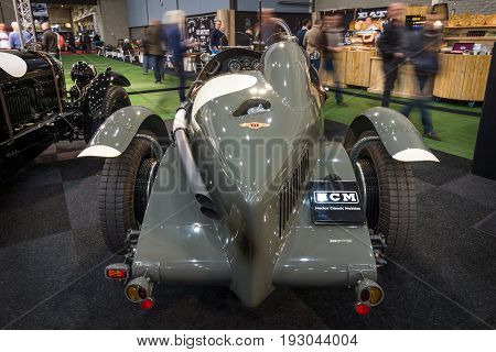 MAASTRICHT NETHERLANDS - JANUARY 15 2016: Vintage car Bentley 3/8 racer (built on the chassis Bentley Mark VI) 1947. Rear view. International Exhibition InterClassics & Topmobiel 2016