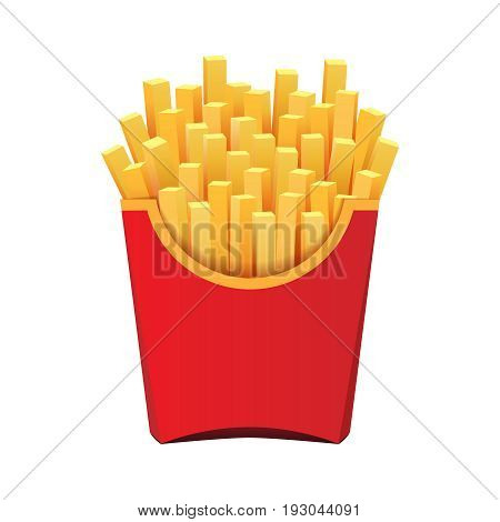 French fries in red package isolated on white backgroun, fast food illustration