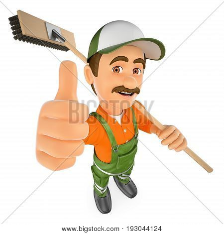 3d working people illustration. Street sweeper with thumb up. Isolated white background.
