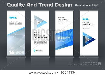 Abstract business vector set of modern roll Up Banner stand design template with colourful diagonal triangular shapes for eco, market, exhibition, show, expo, presentation, parade, events.
