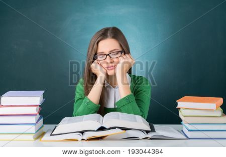 Annoyed student tired sleepy bored young girl
