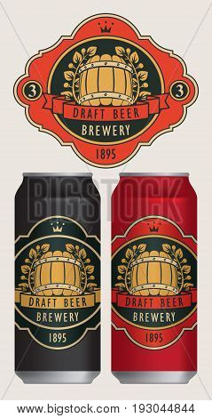 Vector beer label with barrel laurel wreath ribbon and crown in retro style on a red background. Two templates labels for draft beer on beer cans.