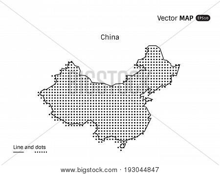 Vector Dotted China Map isolated on white background