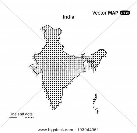 Vector Dotted India Map isolated on white background