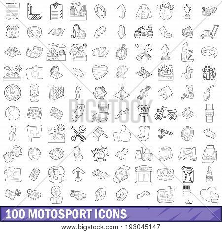 100 motosport icons set in outline style for any design vector illustration