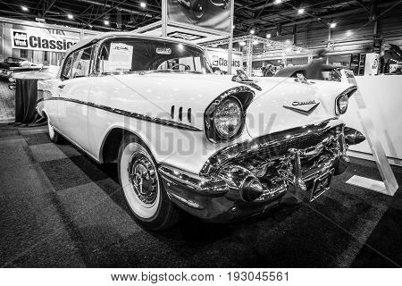 MAASTRICHT NETHERLANDS - JANUARY 15 2016: Full-size car Chevrolet Bel Air Convertible 1957. International Exhibition InterClassics & Topmobiel 2016