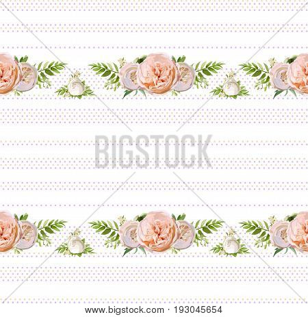 Vector floral summer seamless pattern design: bouquets of Pink white garden rose green herbs flowers seasonal plants fern greenery on polka dot background. Elegant watercolor for wedding paper textile