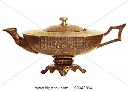 Aladdin bronze magic lamp isolated on white