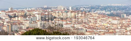 Aerial view of Lyon France from Notre Dame de Fourviere panorama