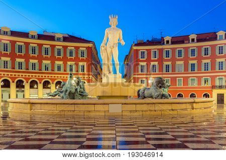 The Fountain du Soleil on Place Massena square Nice, French Riviera, Cote d'Azur, France