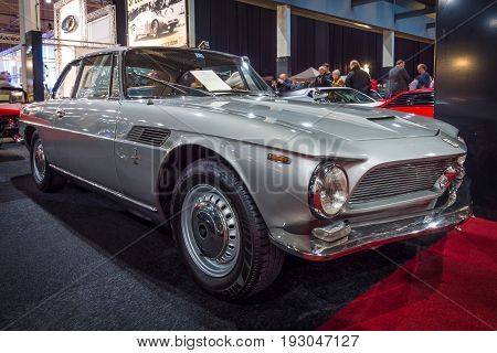 MAASTRICHT NETHERLANDS - JANUARY 15 2016: Luxurious coupe Iso Rivolta GT IR 300 1968. International Exhibition InterClassics & Topmobiel 2016