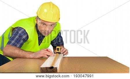 Yellow male helmet worker tool belt white background