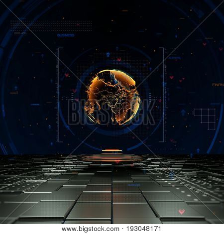 Worldwide business concept with 3D globe hologram and futuristic details.