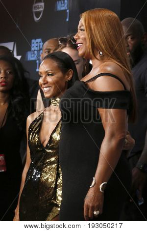 LOS ANGELES - JUN 25:  Jada Pinkett Smith, Queen Latifah at the BET Awards 2017 at the Microsoft Theater on June 25, 2017 in Los Angeles, CA