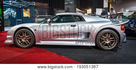 MAASTRICHT NETHERLANDS - JANUARY 15 2016: Sports car Noble M12 GTO 2000. International Exhibition InterClassics & Topmobiel 2016