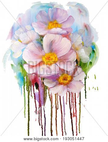 Bouquet of pink flowers with paint drips. Oil painting on Canvas. Isolated on white background