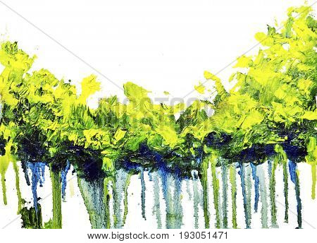 Abstract colorful green summer forest strip with paint drips. Oil painting on canvas