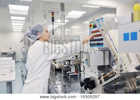 poster of medical pills industry  factory and production indoor