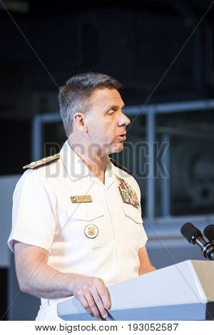 Admiral Philip Davidson, Commander US Fleet Forces Command, speaks at the annual Memorial Day Observance ceremony on the Intrepid Sea, Air & Space Museum in Manhattan. Fleet Week NEW YORK MAY 29 2017.