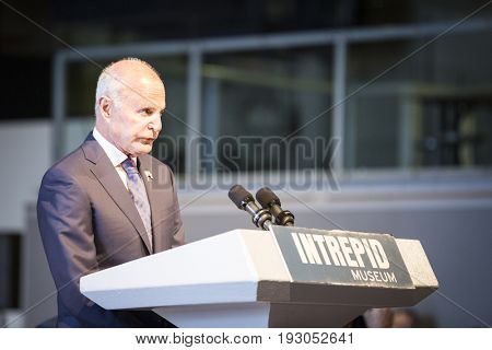 Mel Immergut, Vice Chairman, Intrepid Sea, Air & Space Museum speaks at the annual Memorial Day Observance ceremony on Intrepid Sea, Air & Space Museum in Manhattan. Fleet Week, NEW YORK MAY 29 2017.