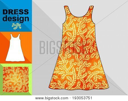 Template white summer dress with a floral pattern.