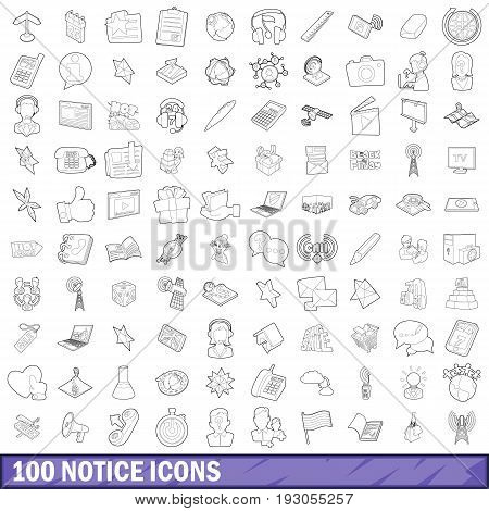 100 notice icons set in outline style for any design vector illustration