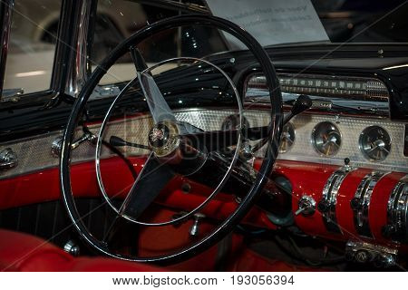 MAASTRICHT NETHERLANDS - JANUARY 15 2016: Cabin of full-size car Buick Super Roadmaster (fourth generation) 1955. International Exhibition InterClassics & Topmobiel 2016