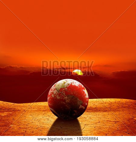 conceptual image of world dried landscape. NASA furnished globe image layered and used