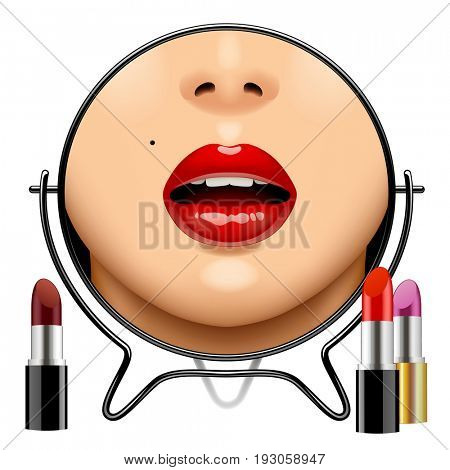 Round mirror with woman's glossy lips reflection and set of lipsticks isolated on white