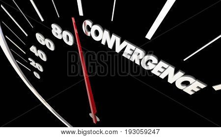 Convergence Joining Together Speedometer Success 3d Illustration