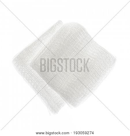 Sterile medical gauze pads isolated on white background