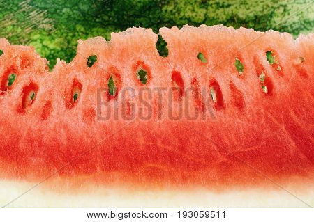 Extreme close-up image of pieces of watermelon