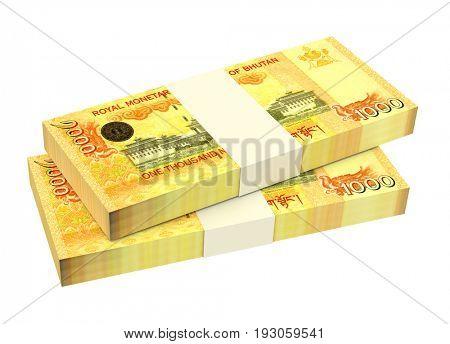 Bhutanese ngultrum bills isolated on white background. 3D illustration.