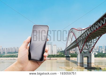 mobile phone with steel bridge in chongqing
