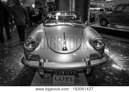 MAASTRICHT NETHERLANDS - JANUARY 15 2016: Sports car Porsche 356A Speedster 1955. Black and white. International Exhibition InterClassics & Topmobiel 2016