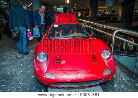 MAASTRICHT NETHERLANDS - JANUARY 15 2016: Sports car Ferrari Dino 246 GT 1974. International Exhibition InterClassics & Topmobiel 2016