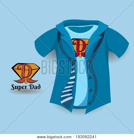 Super dad Father day's concept design on a blue shirt with Dad logo.