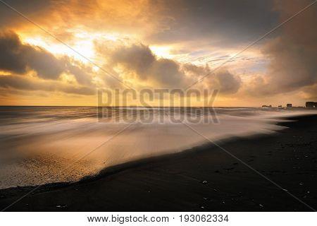 Reynisfjara black beach near Vik Reynisdrangar Iceland