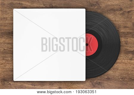 3d rendering black vinyl record in paper case on wood background